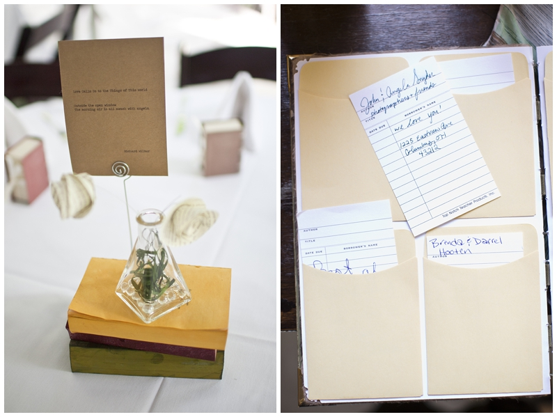 How cool is this guest book? It is meant to look like a bunch of library book slips.