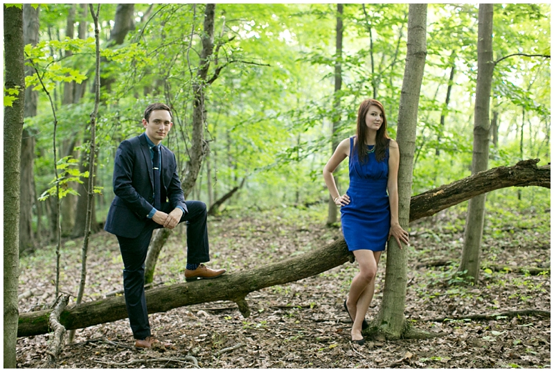 I can't help but appreciate the fancy attire in the woods. You two look like you came straight out of a magazine.