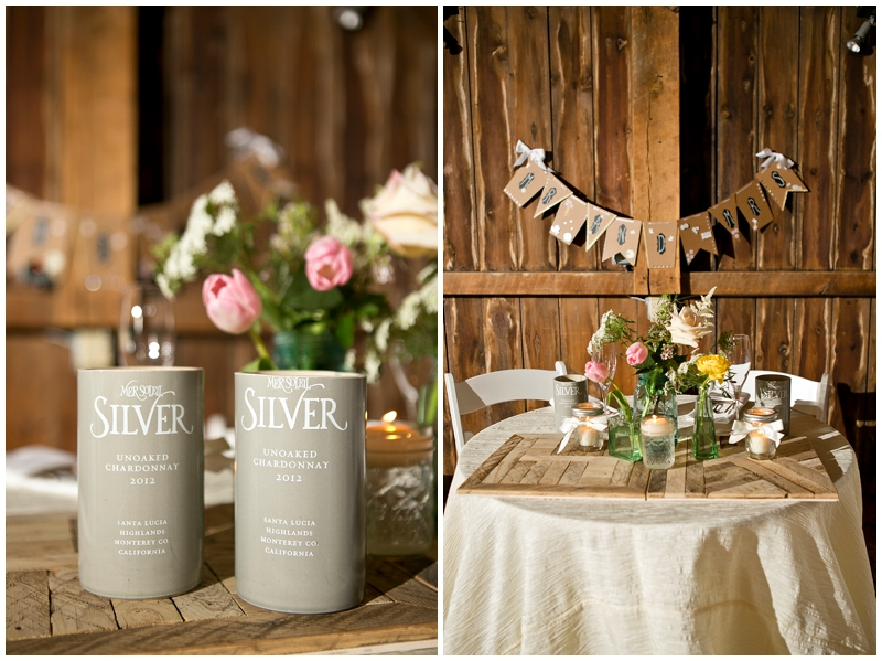 Handmade recycled bottle glasses and handmade wood centerpieces- so pretty!