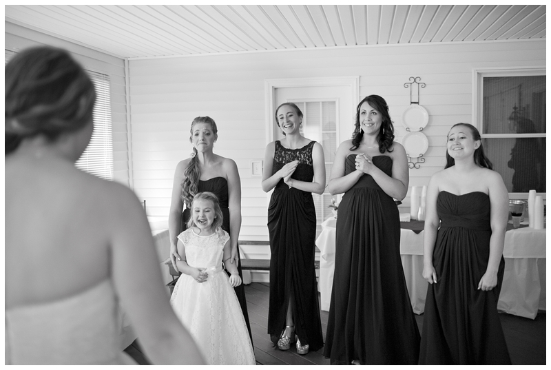 First time seeing their friend in her dress! Love the flower girl's reaction!
