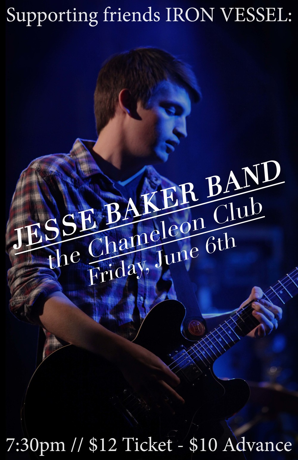 Flier for Jesse Baker Band at the Chameleon Club on Friday, June 6th.