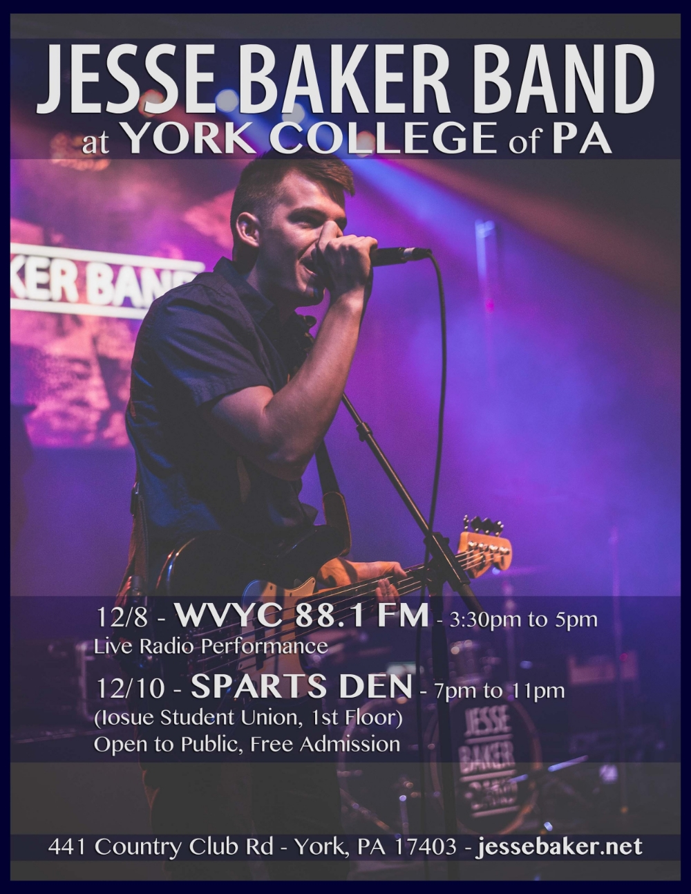 Jesse Baker Band at WVYC 88.1 FM, York College of PA