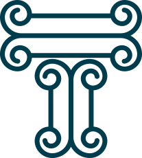 "V2 – ""T"" made up of the top portion of a greek column."