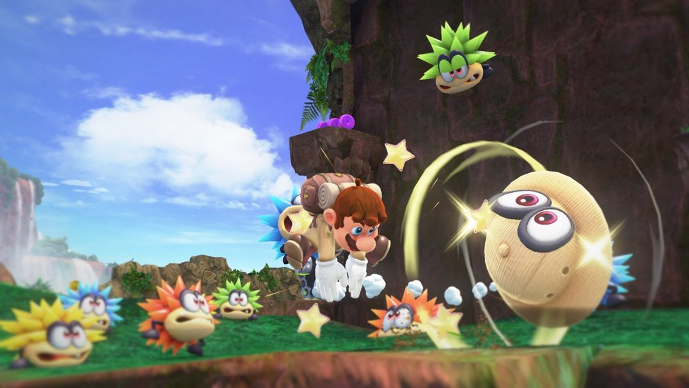 Mario throwing Cappy while they are in a safari outfit.