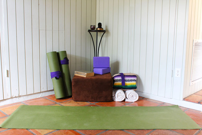 How to create a home practice space  Using:  yoga blocks , mat ( my favorites here ),  Mexican blanket .