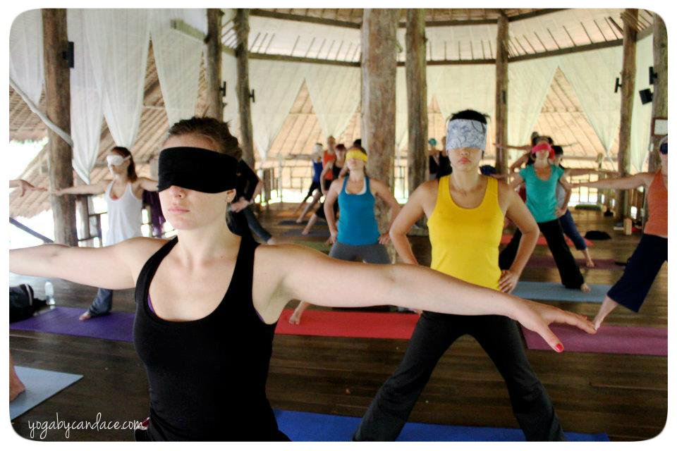 Blindfolded yoga in Thailand