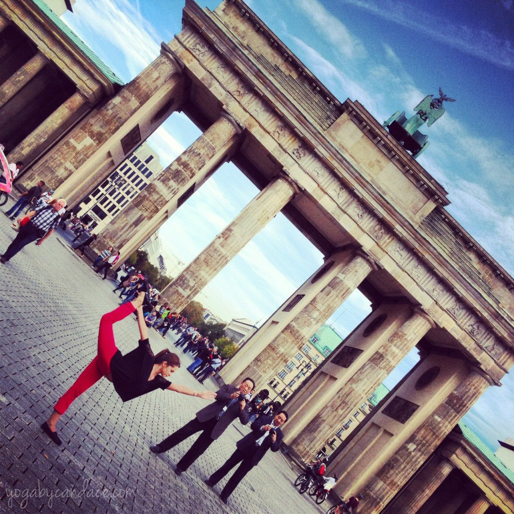 Natarajasana at the Brandenburg Gate in Berlin, Germany
