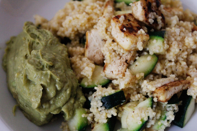 Millet bowl with grilled tofu and zucchini and a creamy avocado sauce
