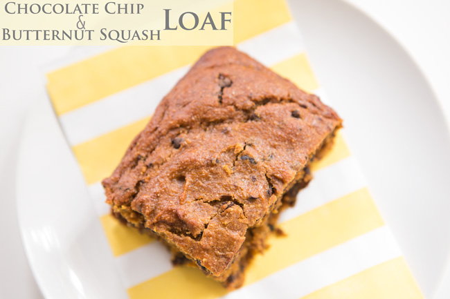 Chocolate chip butternut squash loaf recipe - pin it!