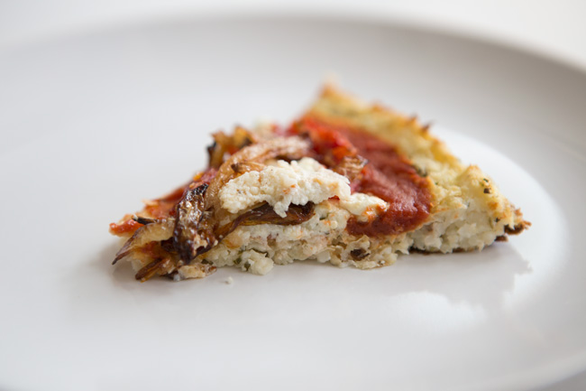 Cauliflower pizza slice