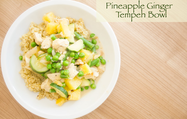 Pin it! Pineapple ginger tempeh bowl with quinoa.