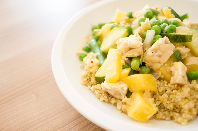 Pineapple ginger tempeh dinner