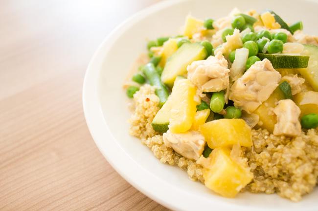 Pineapple ginger tempeh dinner