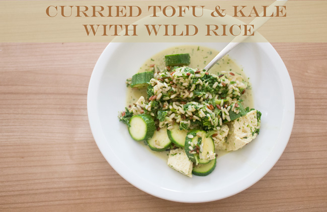 Pin it! Curried tofu & kale with wild rice recipe.