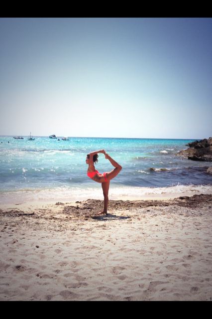 Natarajasana on Es Trenc Beach in Mallorca