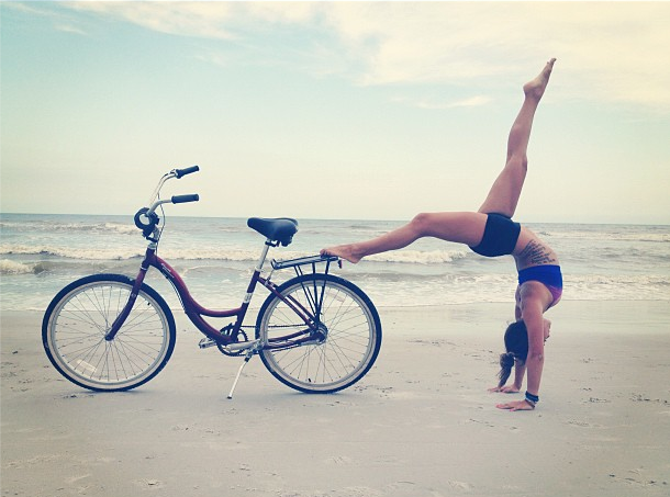 Wheel pose variation on a bike