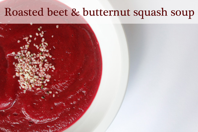 Pin it! Roasted beet and butternut squash soup recipe.