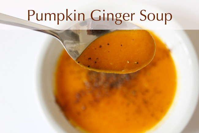 Pin it! Pumpkin ginger soup recipe.