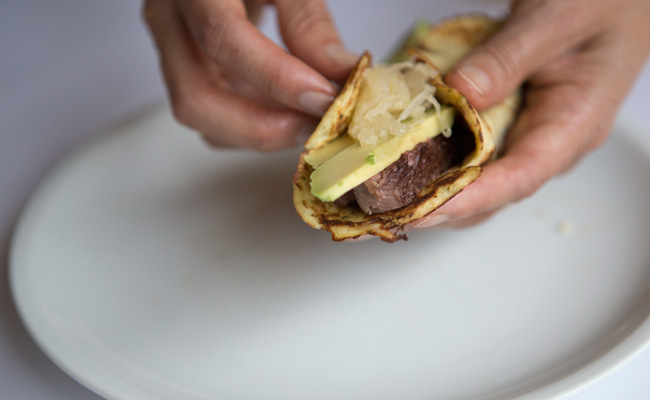 Cauliflower tortillas with steak, avocado, sauerkraut