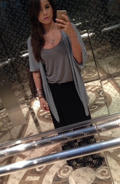 Mall outfit elevator selfie