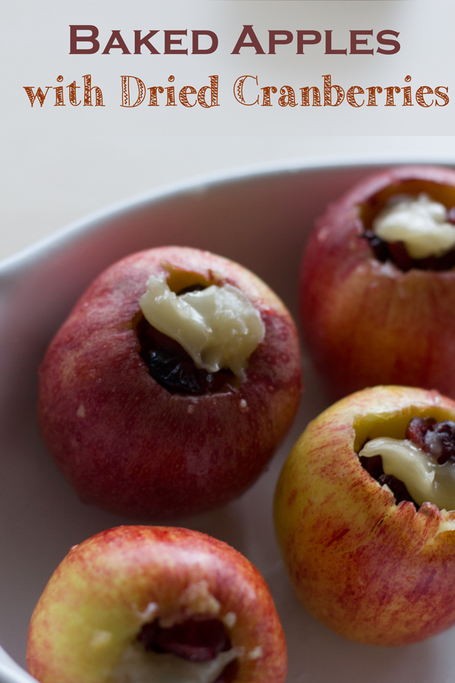 Pin it! Healthy dessert - baked apples with dried cranberries.