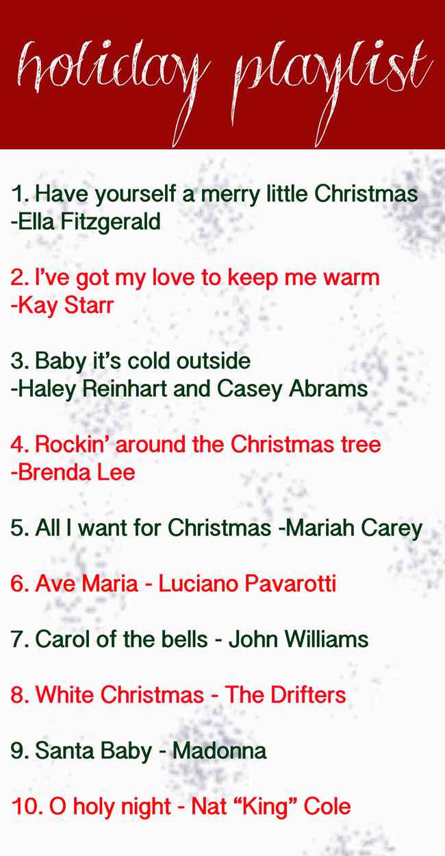 Pin it! Holiday playlist.