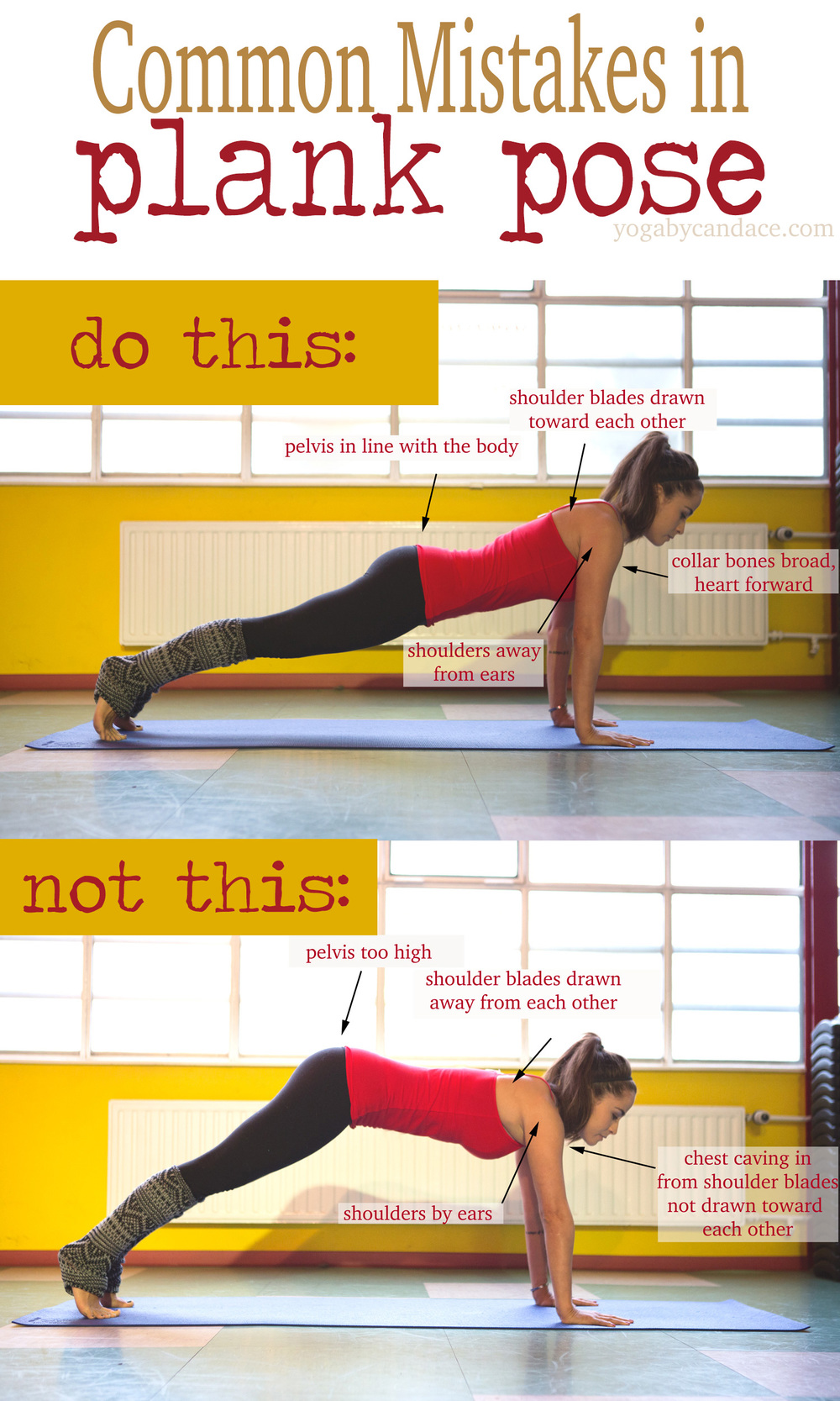 Pin it! Common mistakes in plank pose and how to fix them.