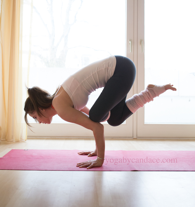 3 steps to flying baby pigeon pose yogabycandace