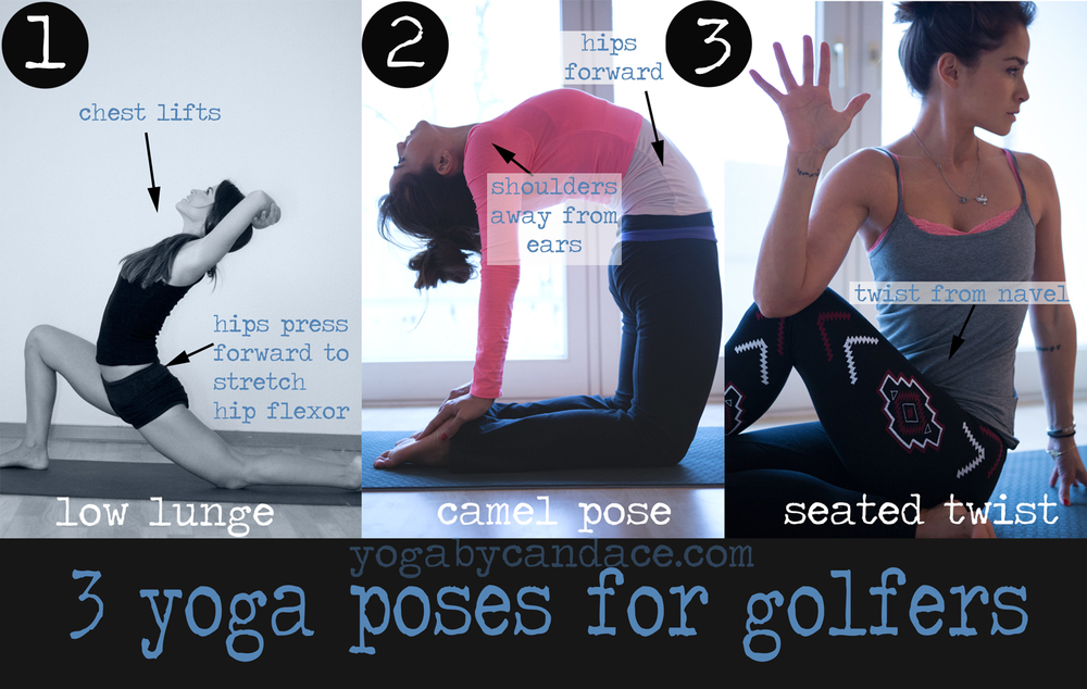 Pin it! 3 yoga poses for golfers. These will open the chest, torso and hips - great for the golf swing.