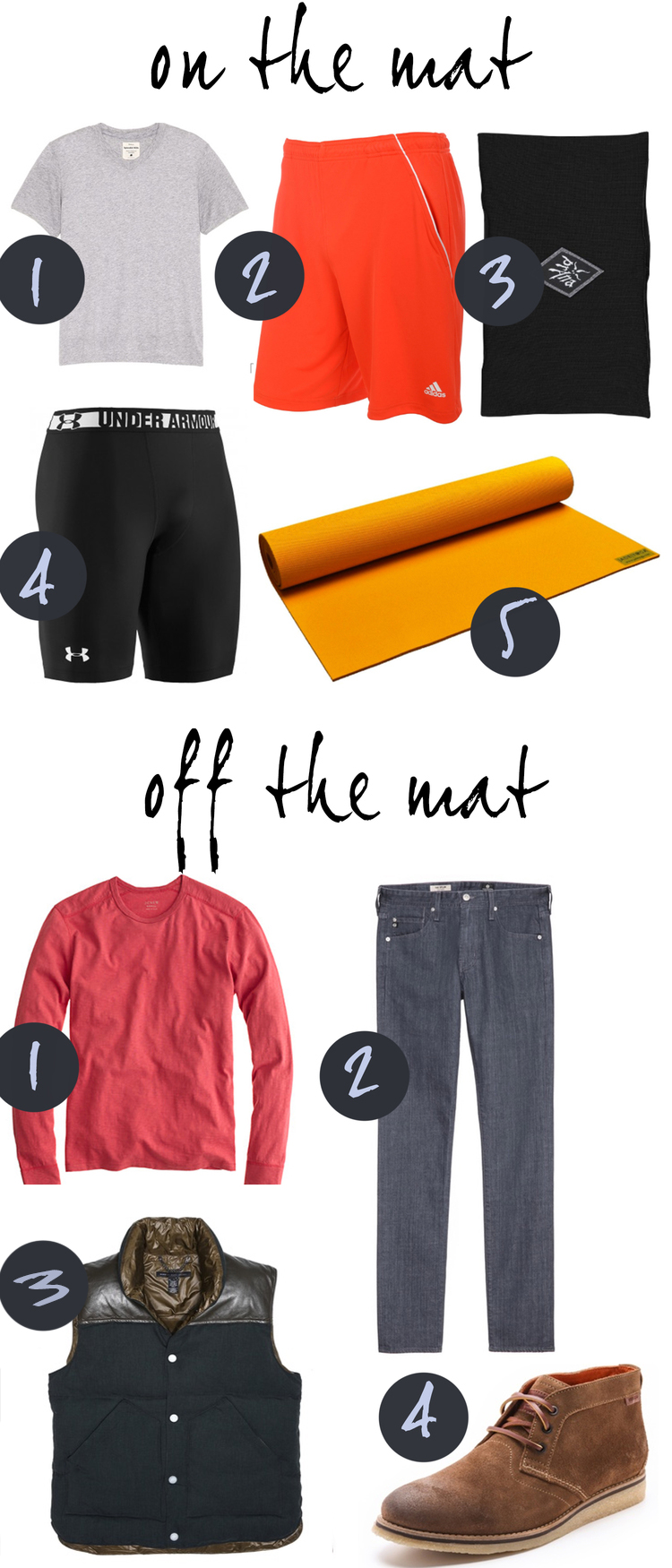 Pin it! Men's clothes for on the mat and off the mat