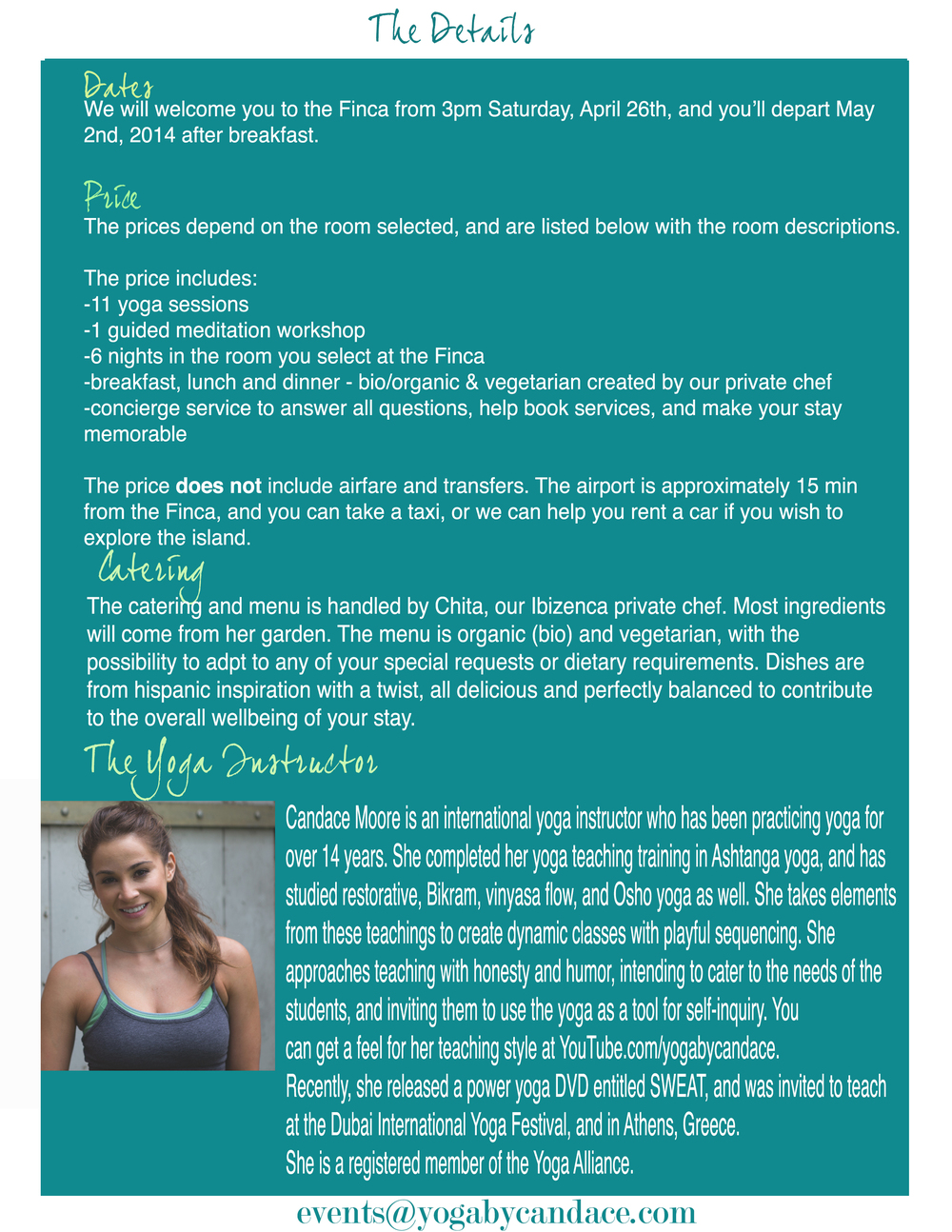 Yoga retreat details