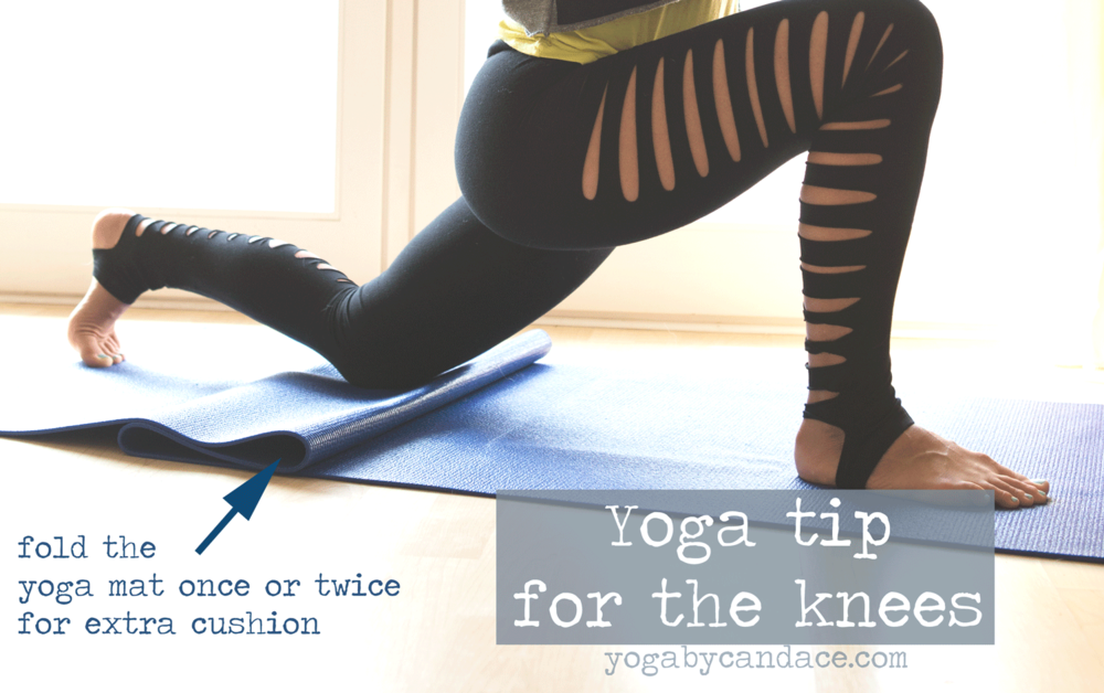 Pin it! A trick for the knees in yoga class. Wearing: asos slashed leggings. Using Yoga Accessories mat.