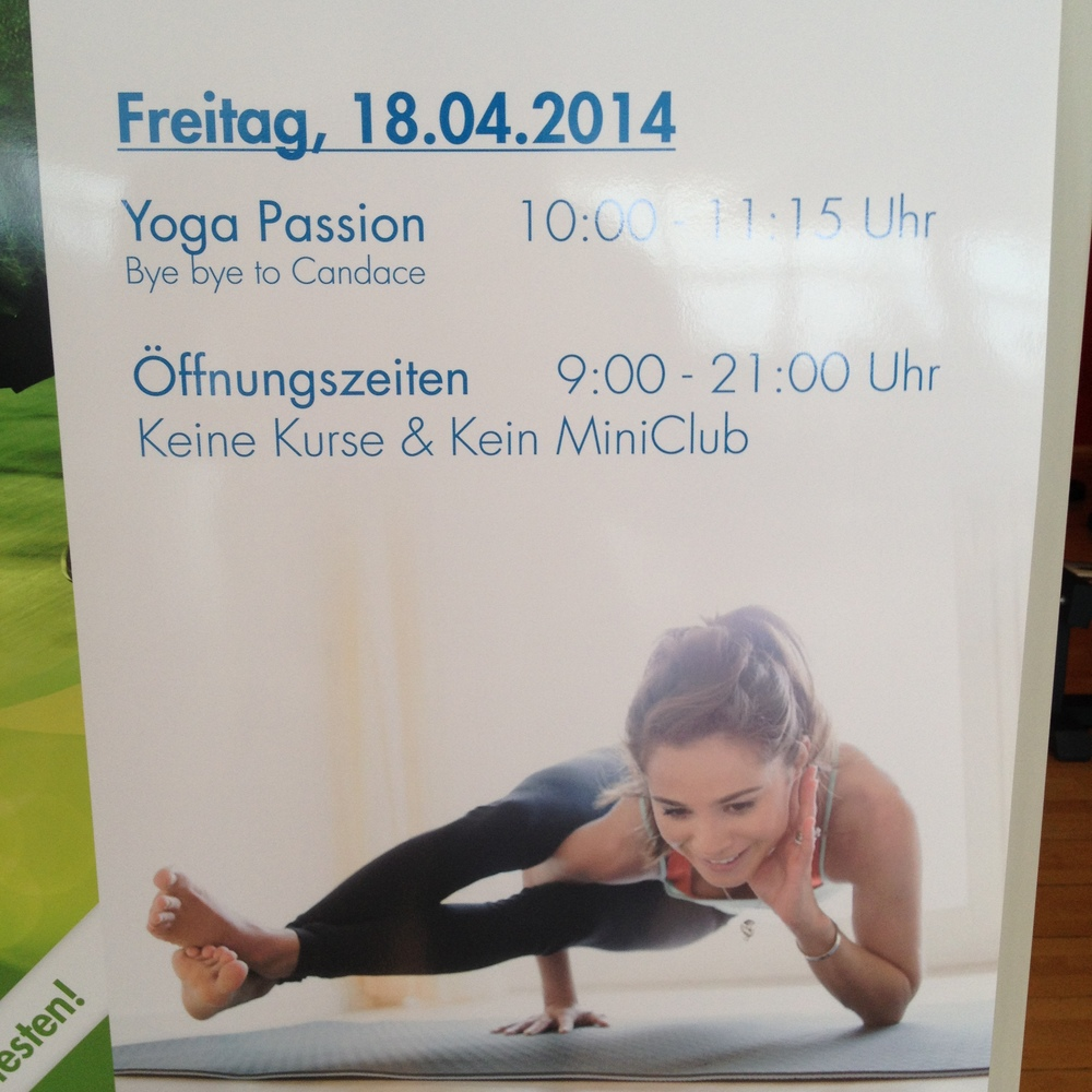 Last yoga class with Candace at Injoy Wolfsburg