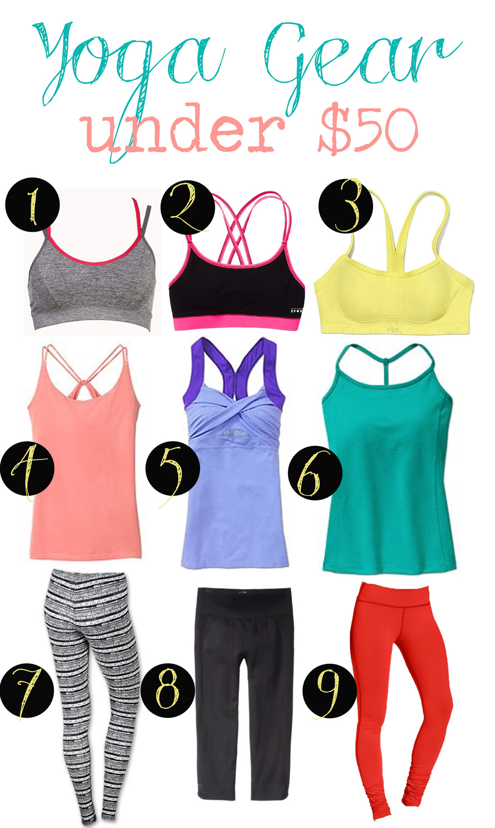 Pin it! Women's yoga clothes under $50