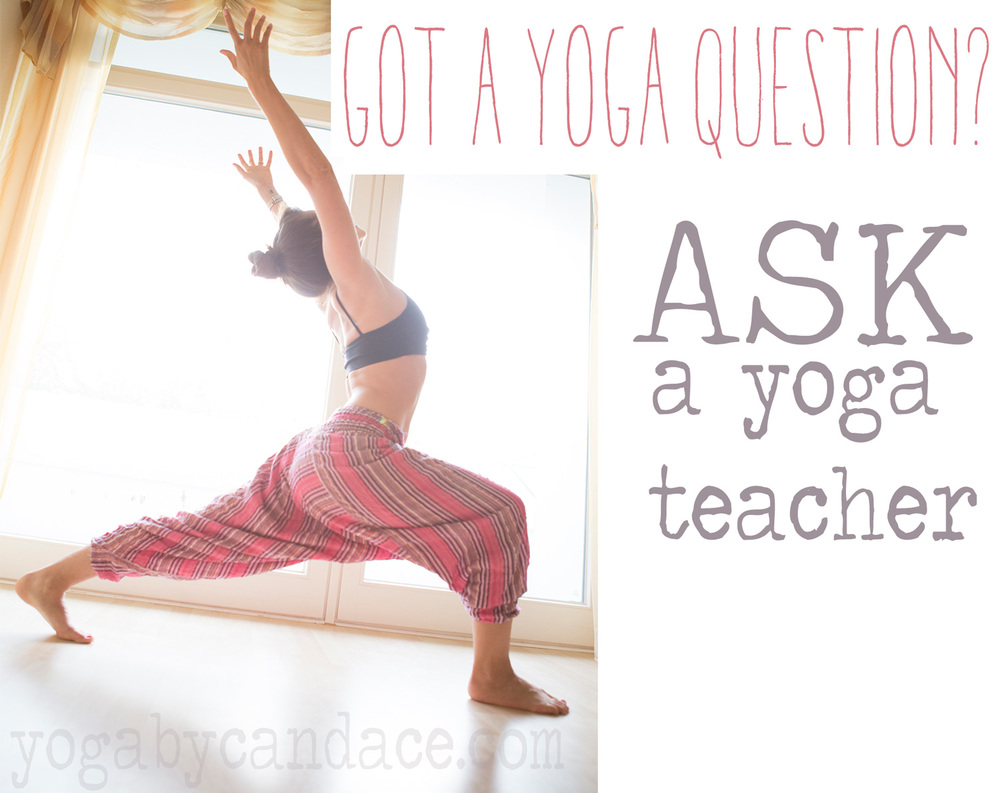 Pin it! Ask your yoga questions on  twitter  using hashtag #yogaquestion, on the  yogabycandace Facebook wall , or submit your question  here .  Wearing: Body language bra ( similar ), pants from India.