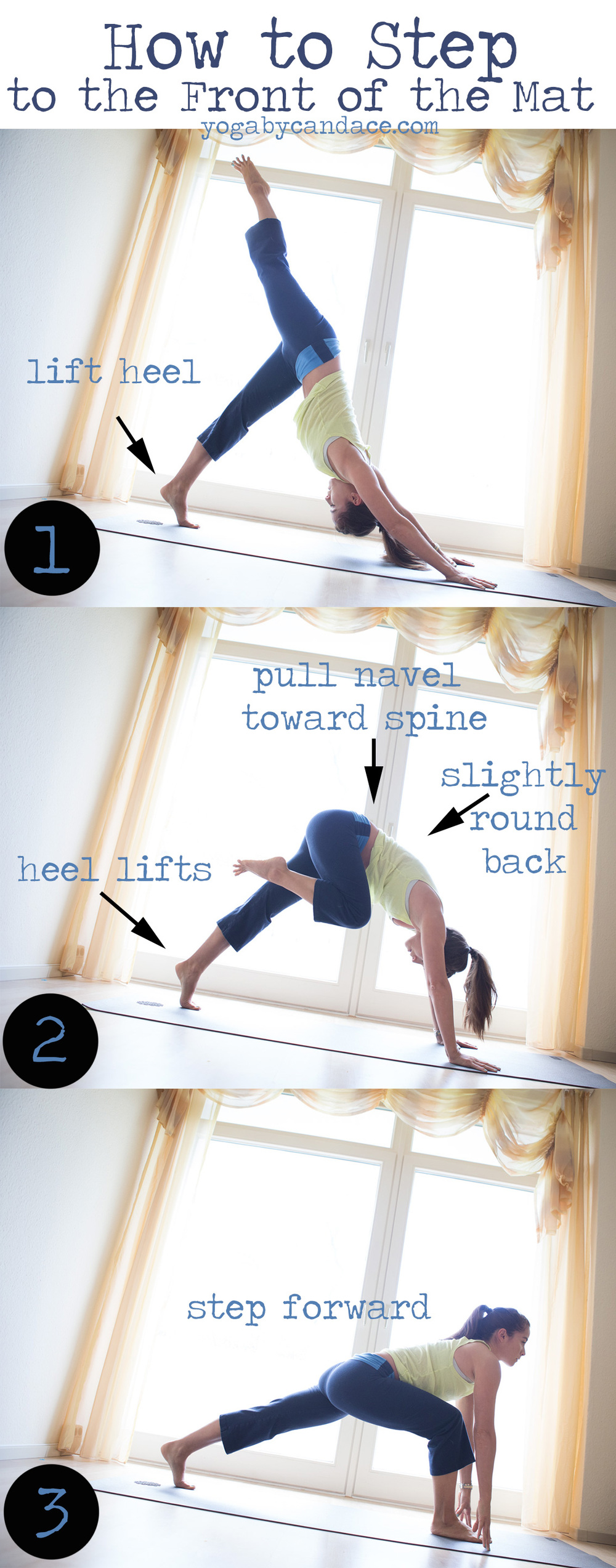 How to step easily to the front of the yoga mat.