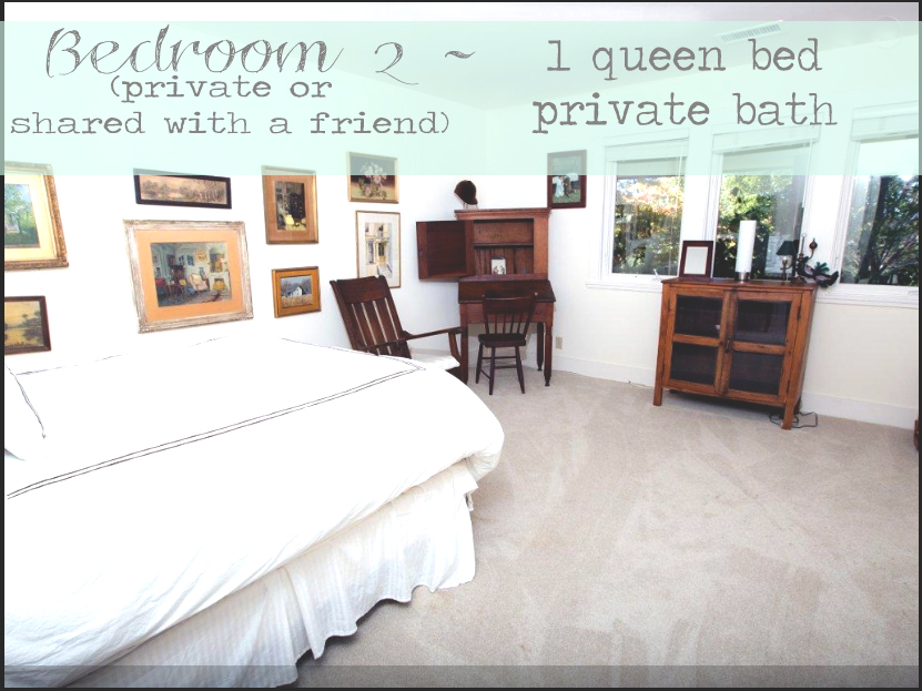 Bedroom two features a queen bed and private full bathroom