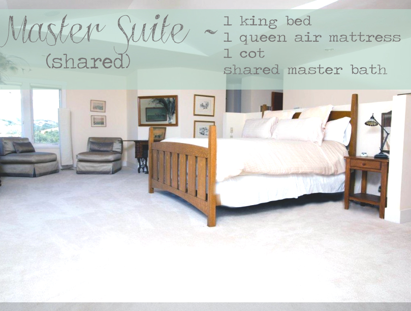 Master Suite will be shared. 1 King bed, 1 queen air mattress and 1 cot. Shared master suite bathroom.
