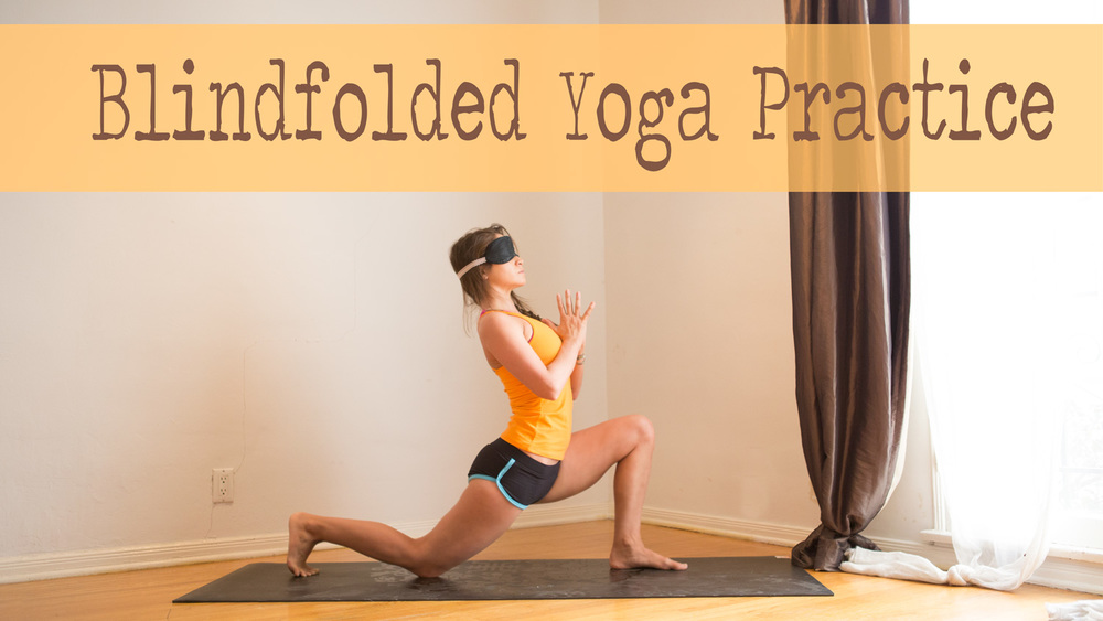Wearing:  Hyde yoga top  c/o,  hot drop apparel shorts ,  gaiam sol mat , blindfold ( similar )
