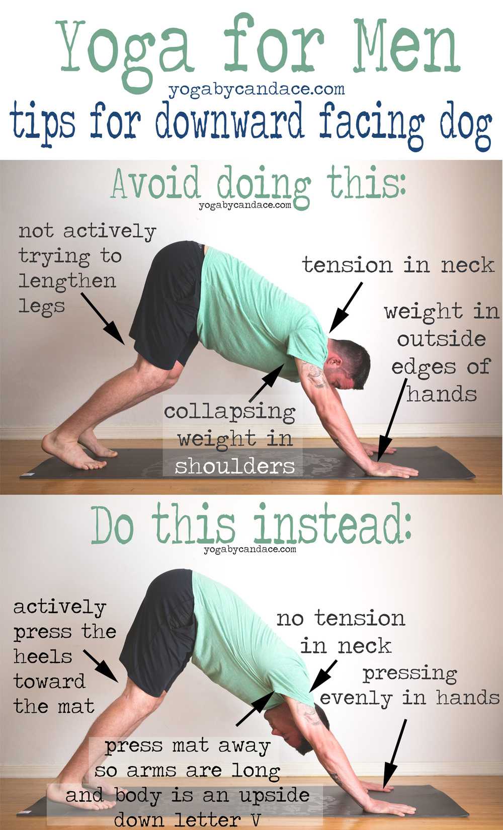 Pin it! Yoga for Men: Downward dog tips  Wearing:  Yoga crow shorts ,  BDG shirt . Using:  Gaiam sol dry-grip yoga mat
