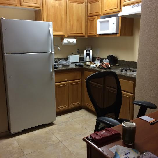 Hotel room in Vegas with kitchenette