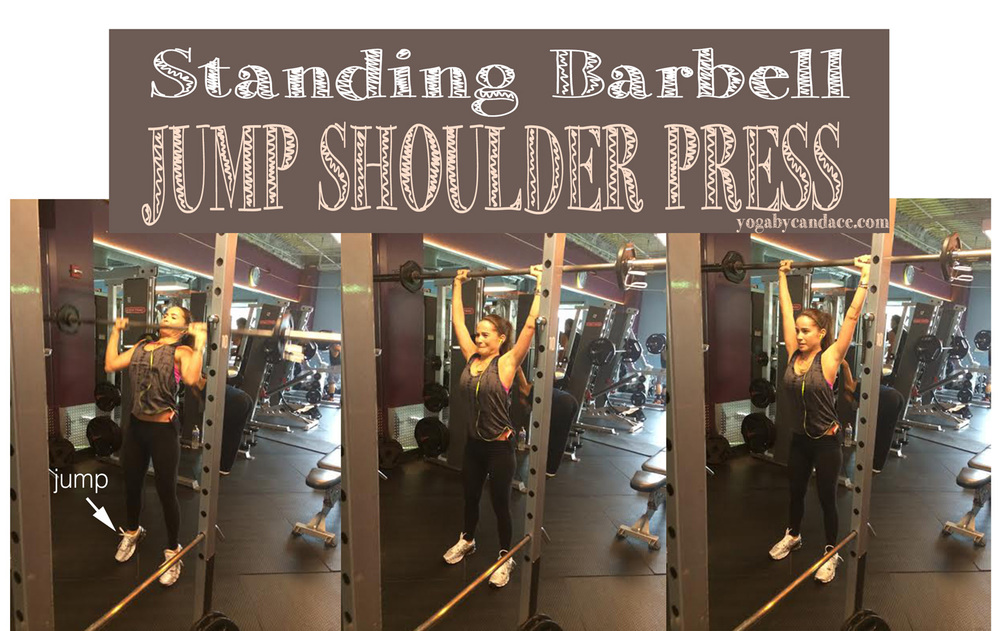 Standing barbell jump shoulder press