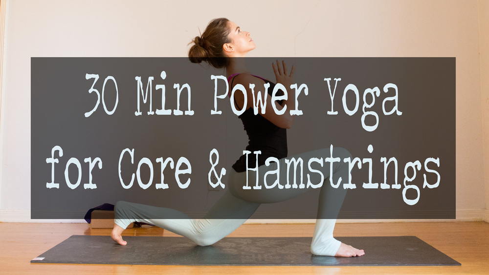Pin it! 30 Min power yoga video for core & hamstrings  Wearing:  Fabletics pants  c/o, Kenneth Cole tank,  Lululemon bra .  Using:  Gaiam mat , and  Hugger Mugger cork yoga block .