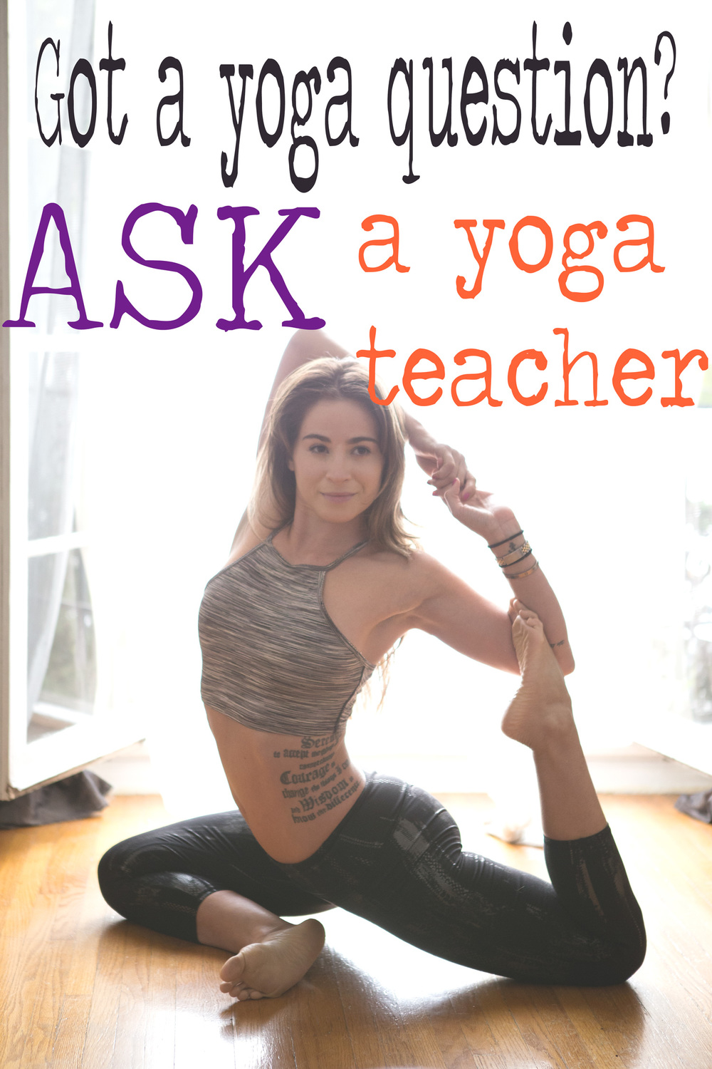 Pin it, and ask your yoga questions on this blog! Wearing: Free People top, Athleta pants.