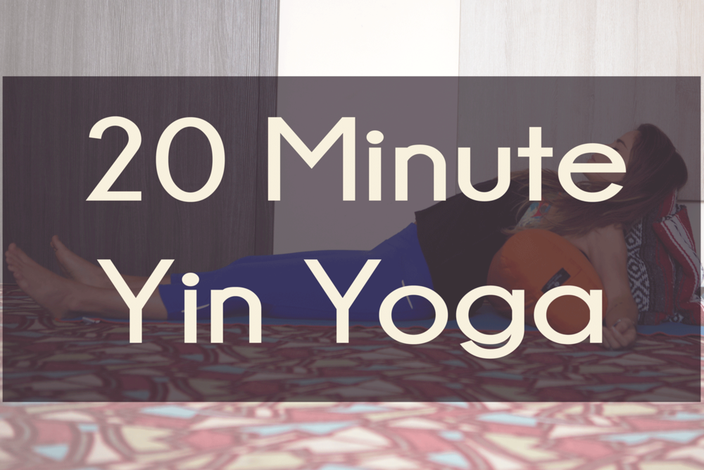 Pin it! 20 minute yin yoga video using a bolster and blanket for props.  Wearing:  Athleta pants  (on sale!),  nike shirt , hot drop apparel bra. ( similar )  Using:  Yogitoes yoga towel for mat ,  hugger mugger bolster  and  blanket .