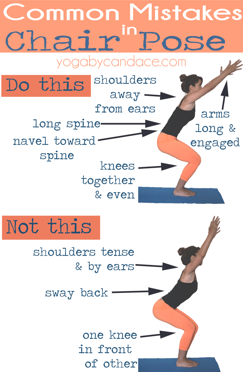 Pin it! Common mistakes in Chair Pose.  Wearing: lululemon leggings ( similar on super sale! ),  f21 tank . Using:  yogitoes towel .