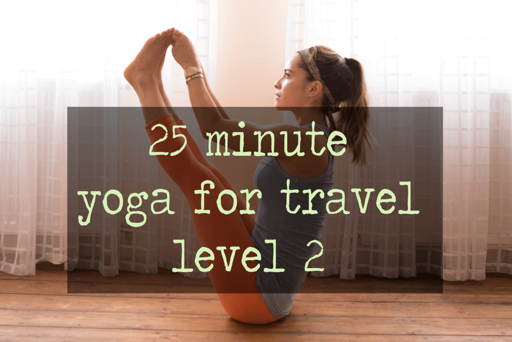 Pin it! 25 min yoga video for travel  Wearing:  James Perse shirt , Lululemon pants ( similar ),  Mizu tie  worn as headband