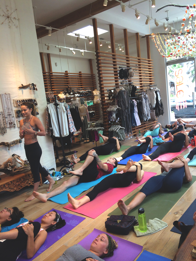 Me teaching in Brentwood, CA at Free People.  Wearing:  Hatha capris