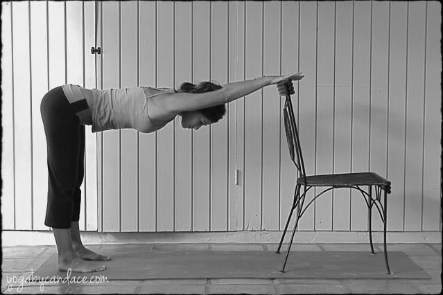 Chair yoga pose for shoulders and chest