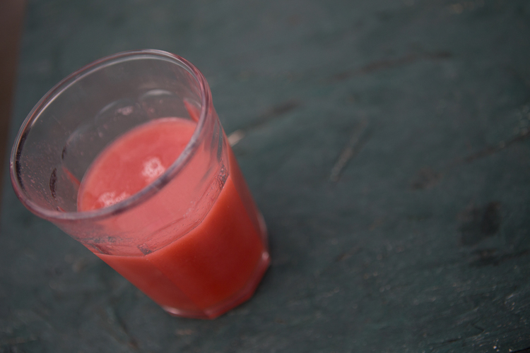 Fresh squeezed  strawberry, pear, apple juice .